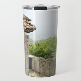Ancient Stone Houses in Krujë, Albania Travel Mug
