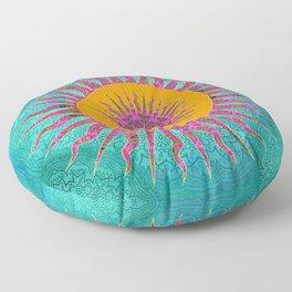 Magic Sun Mandala In Bold Colors Floor Pillow