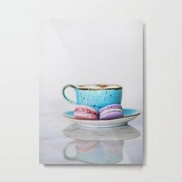 French macarons with tea Metal Print