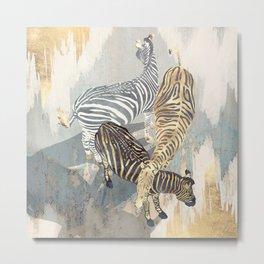 Metallic Zebras Metal Print