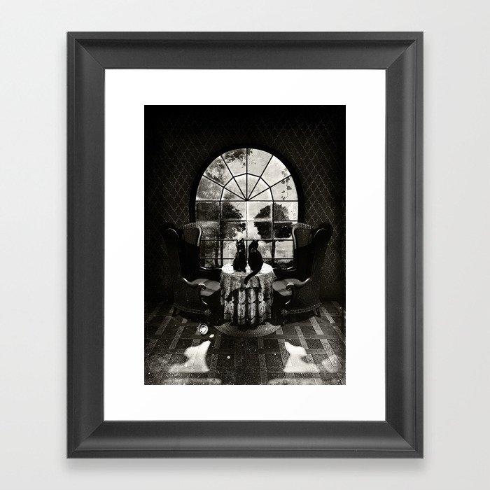 Room Skull B&W Gerahmter Kunstdruck