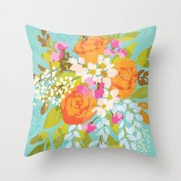 Vintage kitsch: bright summer floral bouquet Throw Pillow