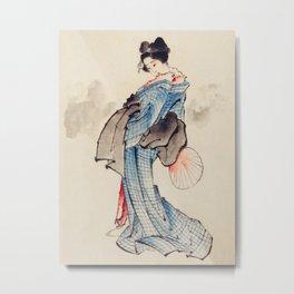 Katsushika Hokusai - Wearing Kimono with Check Design Metal Print
