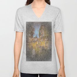 Art Of Sleepy Hollow Cemetery Unisex V-Neck