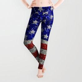 Glitter Sparkle American Flag Pattern Leggings