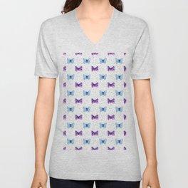 Butterfly Pattern Blue Purple Watercolor Unisex V-Neck