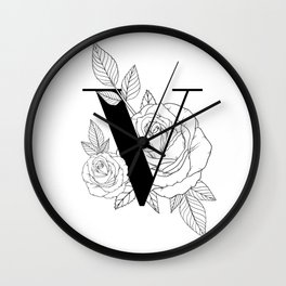 Monogram Letter V with Rose Line Art Wall Clock