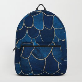 Stratosphere Sapphire // Abstract Blue Flowing Gradient Gold Foil Cloud Lining Water Color Decor Backpack