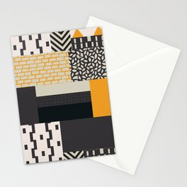 Color Block Patch Work Black Stationery Cards
