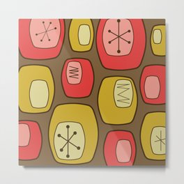Mid Century Modern Oblongs Strawberry Banana Metal Print