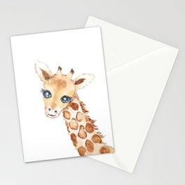 cute baby giraffe watercolor  Stationery Cards