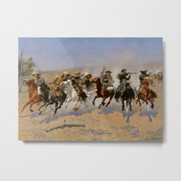 """Frederic Remington Western Art """"Dash For The Timber"""" Metal Print"""