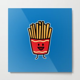 Happy French Fries potato frites fried junk food Metal Print