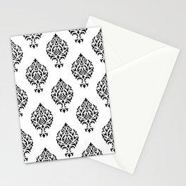 Orna Damask Pattern Black on White Stationery Cards