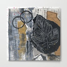 White And Black Leaves Collage Metal Print