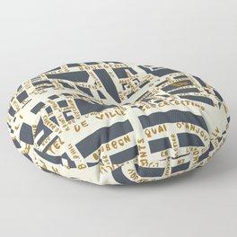 PARIS MAP GREY GOLD Floor Pillow