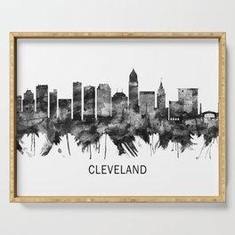 Cleveland Ohio Skyline BW Serving Tray