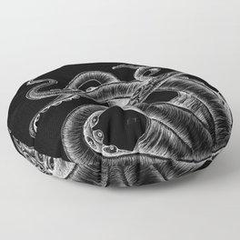 White Tentacles On Black Ink Kraken Monster Floor Pillow