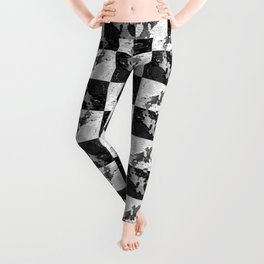 Swimming Glyphs and Sunflowers: Checkered Version Leggings