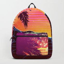 Festival vaporwave landscape with rocks and palms Backpack