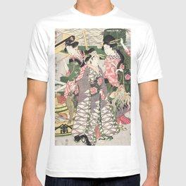 Fish market on the beach at Shiba, 1807 T-shirt