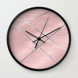 Modern Pink & Silver Line Art Wall Clock