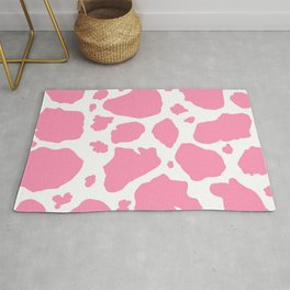 pink and white animal print cow spots Rug