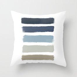 Blue & Taupe Stripes Throw Pillow