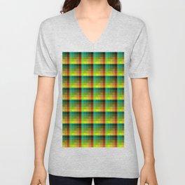 Ocean and Sunset Turquoise and Orange Pixel Art Pattern Unisex V-Neck