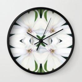 Art Nouveau White Flower Wall Clock