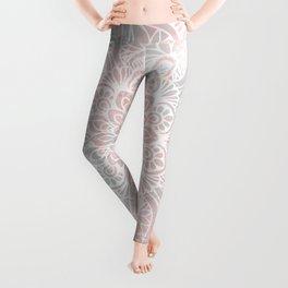 Mandala, Yoga, Love, Coral and Gray, Wall Art Boho Leggings