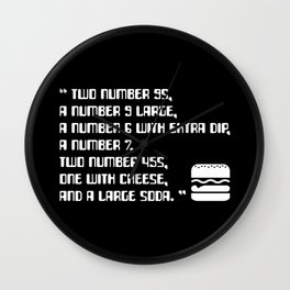 Big Smoke's Order (2 number 9s) gta san andreas drive thru mission typography text with burger icon Wall Clock