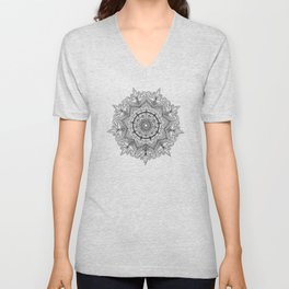 Black Flower Mandala Unisex V-Neck