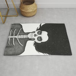 Black and White Galaxy Skull Girl Rug