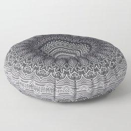 White Line Art Mandala On Grey Floor Pillow