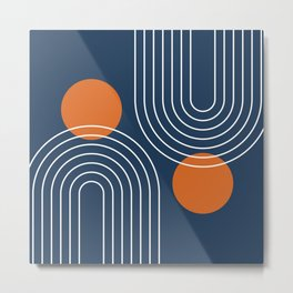 Mid Century Modern Geometric 83 in Navy Blue and Burnt Orange (Rainbow and Sun Abstraction) Metal Print