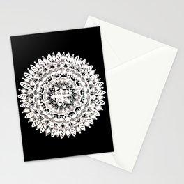 Metallic White Floral Mandala on Black Background Stationery Cards