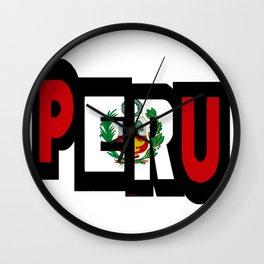 Peru Font With Peruvian Flag Wall Clock