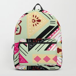 Vibrant Graphic Tile Pattern in Pink and Mint Green Backpack