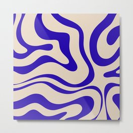 Modern Liquid Swirl Abstract Pattern Square in Indigo Blue Metal Print