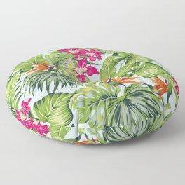 Bird of Paradise Greenery Aloha Hawaiiana Rainforest Tropical Leaves Floral Pattern Floor Pillow