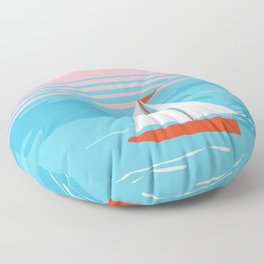 Mellow Out - memphis throwback retro classic neon yacht boating sailboat ocean sea 1980s 80s pop art Floor Pillow