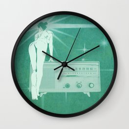 Quiverish Radio 1 - Uncensored - Erotic Collage Art Wall Clock