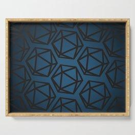 D20 Pattern - Blue Black Gradient Serving Tray