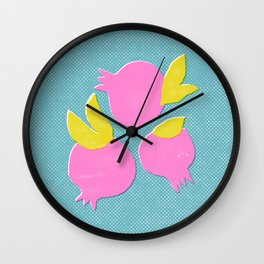 Trendy pomegranate print. Minimalistic illustration. Wall Clock
