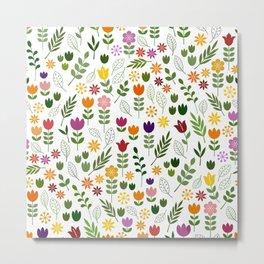 Scandinavian Style Flora & Fauna Pattern Metal Print