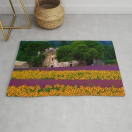 Sunflower and Lavender Fields, Tuscany Landscape by Jeanpaul Ferro Rug