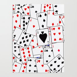 Random Playing Card Background Poster