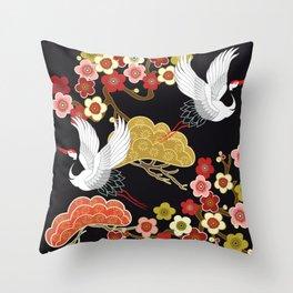 Japanese storks in vintage style on Dark background. Oriental traditional painting. White stork. Japanese crane illustration. Japanese pattern Throw Pillow