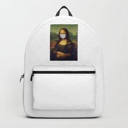 Mona Lisa with Respirator Mask Backpack